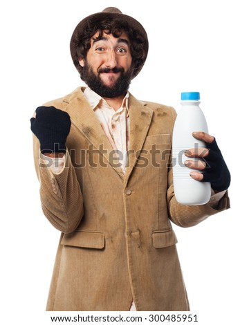happy homeless man with milk