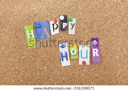 Happy Hour / Banner Billboard Signpost Design for Hotels Hostels Pensions - stock photo