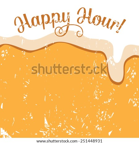 Happy hour beer background royalty free illustration for pubs, bars, nightclubs, restaurants, signage, posters, advertising, coasters, web, blogs, articles - stock photo