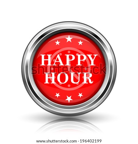 Happy hour icon. Shiny glossy internet button on white background.