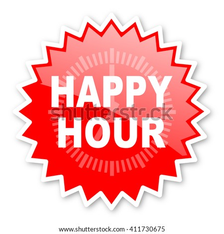 happy hour red tag, sticker, label, star, stamp, banner, advertising, badge, emblem, web icon - stock photo