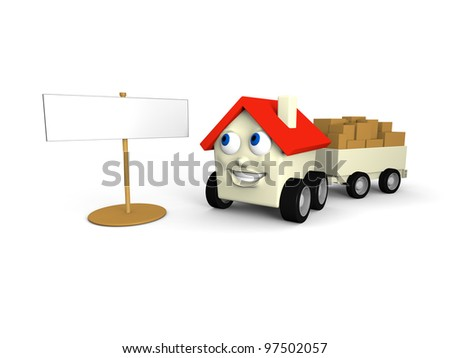Happy house on wheels looking at empty sign for your own text or logo