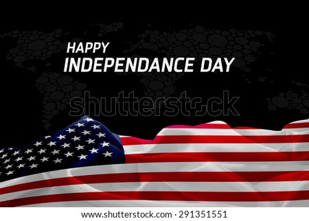 Happy Independence Day America flag and World Map background - stock photo