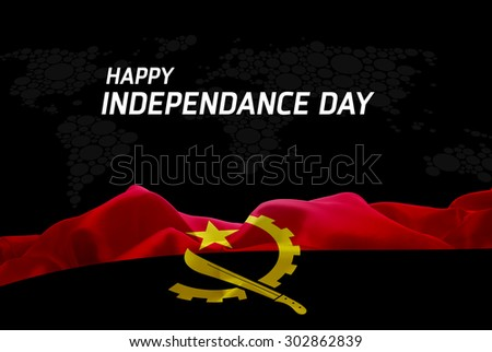 Happy Independence Day Angola flag and World Map background - stock photo
