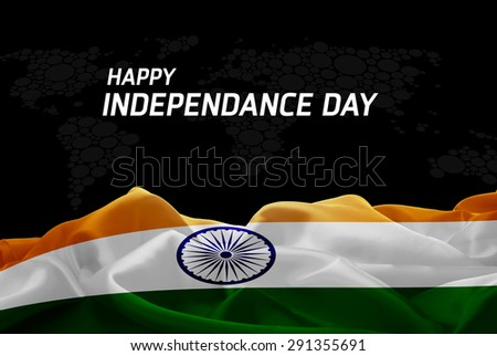 Happy Independence Day India flag and World Map background - stock photo