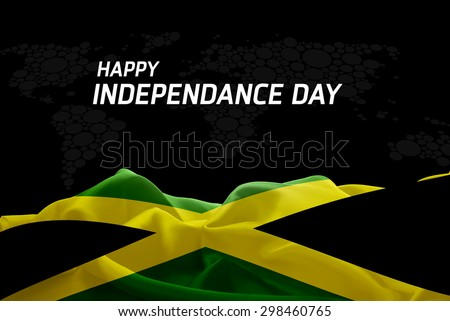 Happy Independence Day Jamaica flag and World Map background - stock photo
