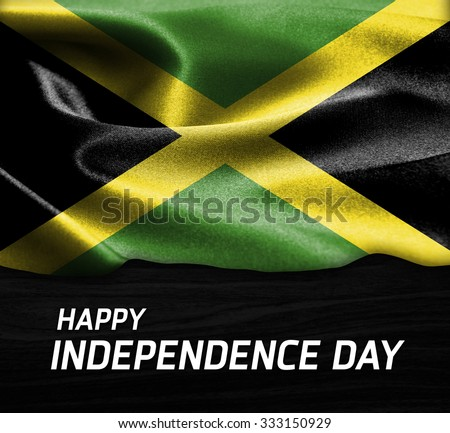 Happy Independence Day Jamaica Flag Wood Stock Photo - Jamaica independence day