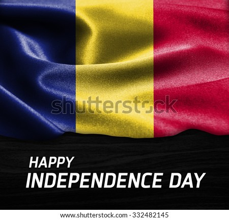 Happy Independence Day Romania flag on wood Texture background - stock photo