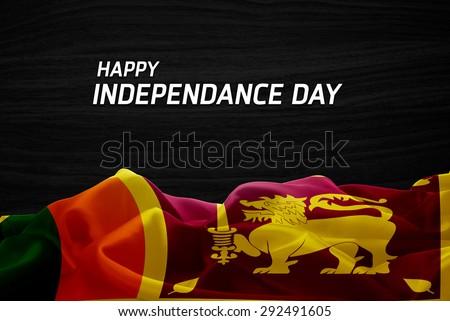 Happy Independence Day Sri Lanka flag and wood background - stock photo
