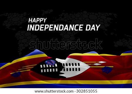 Happy Independence Day Swaziland flag and World Map background - stock photo