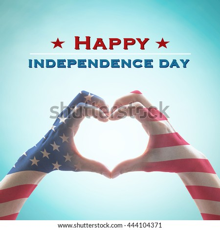 Happy independence day 4th of July text message America flag pattern on people hands in heart shaped isolated on blue vintage sky background: United states of america USA labor, US holiday day concept - stock photo