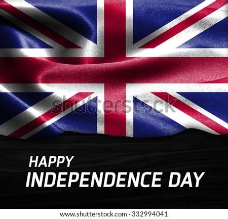Happy Independence Day United Kingdom flag on wood Texture background - stock photo