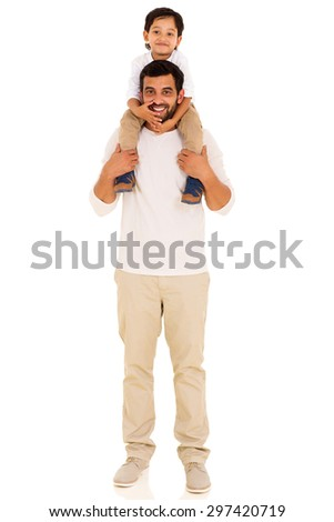happy indian father carrying son on his shoulders isolated on white background - stock photo