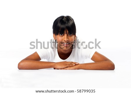 happy indian girl on white - stock photo