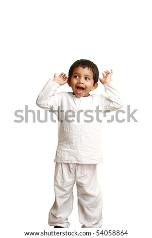 Happy Indian kid in traditional dress - stock photo