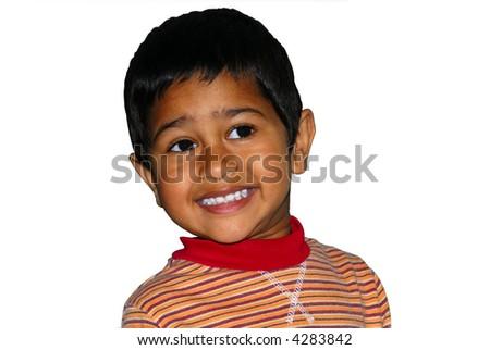 Happy Indian kid isolated on white back ground - stock photo