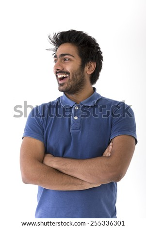 Happy Indian man looking away.. Isolated on white background - stock photo