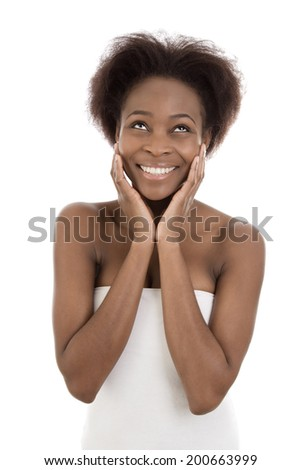 Happy isolated black afro american young woman over white.