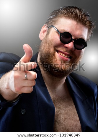 Happy italian pointing to you - stock photo