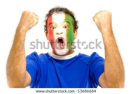 Happy Italian sport fan celebrating a score . - stock photo