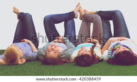 Happy joyful group of young friends enjoy together - stock photo
