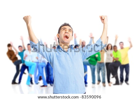 Happy joyful man and his friends cheering isolated on white background - stock photo