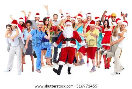 Happy joyful people group isolated white background. - stock photo