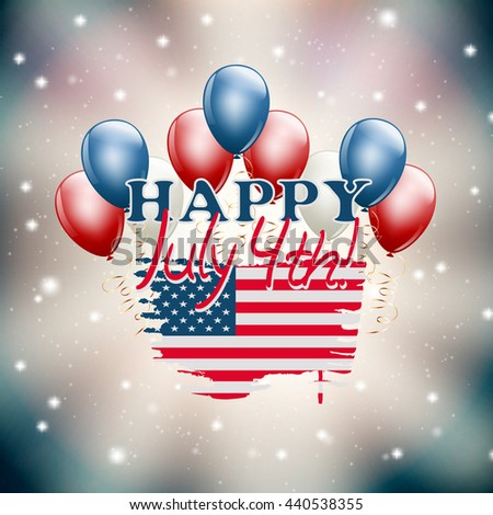 Happy July 4th illustration USA independence day theme. raster