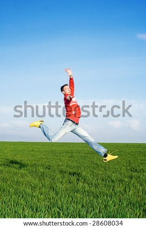 Happy Jumper - stock photo
