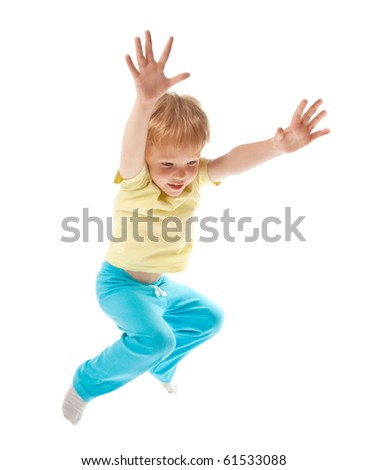 Happy jumping boy isolated on white - stock photo
