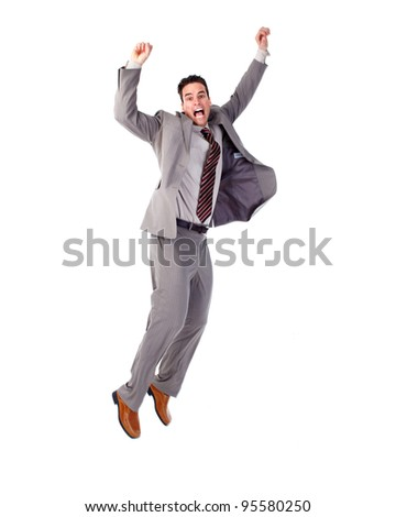 Happy jumping businessman. Isolated on white background.