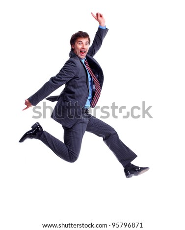 Happy jumping businessman. Isolated on white background. - stock photo