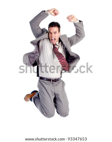 Happy jumping businessman. Isolated over white background. - stock photo