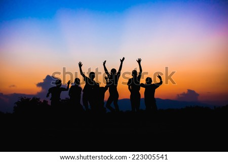 Happy jumping kids - stock photo