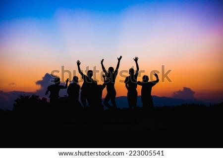 Happy jumping kids - stock photo