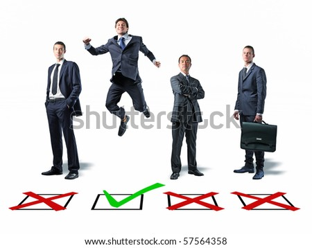 happy jumping man and businesspeople with classic checkbox selection - stock photo