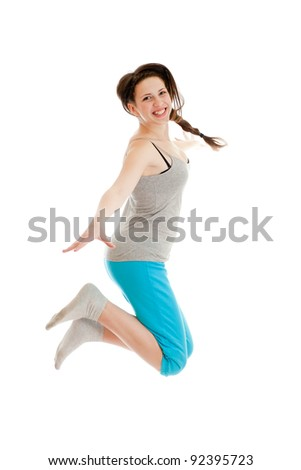 happy jumping teenage girl - stock photo