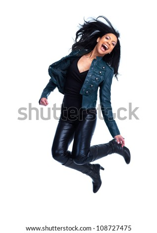 Happy jumping woman. Isolated on white background.