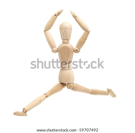 happy, jumping wooden figure