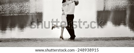 Happy just married couple. Wedding picture in black and white.  - stock photo