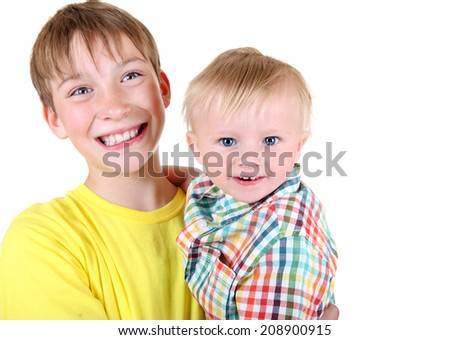 Happy Kid and Baby Boy Portrait Isolated on the White Background