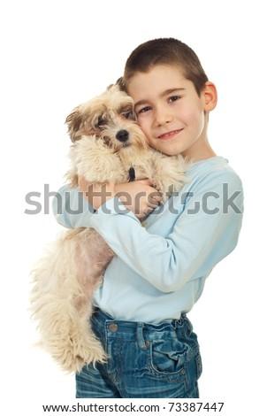 Happy kid boy bonding his puppy dog isolated on white background - stock photo