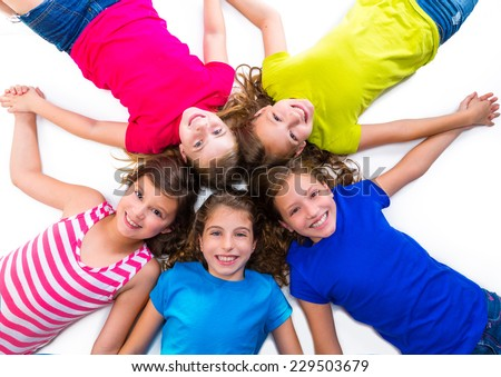 happy kid friend girls group smiling aerial view lying on circle over white background holding hands - stock photo