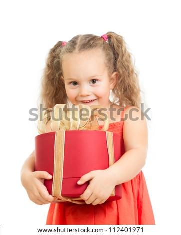 happy kid girl holding gift box - stock photo