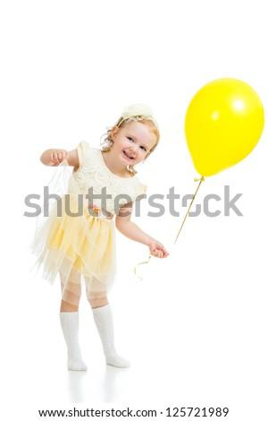 happy kid girl with balloon on white background - stock photo