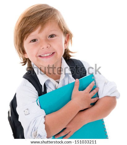 Happy kid going back to school - isolated over white background  - stock photo