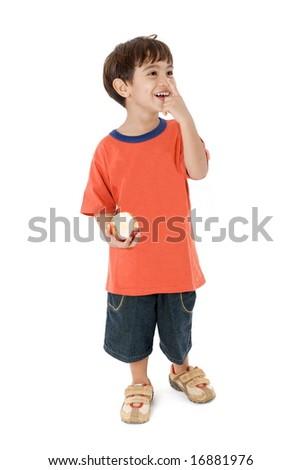 Happy Kid holding a bite apple on white . - stock photo