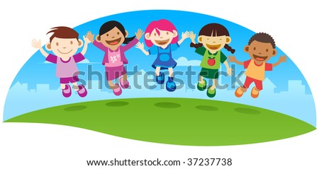 Happy kid Jumping - stock photo