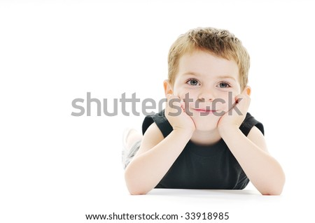 happy kid play on floor isolated on white - stock photo