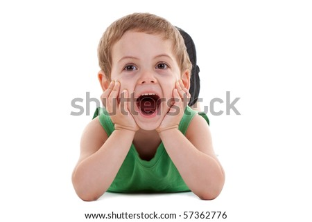 happy kid play on floor, screaming on white - stock photo